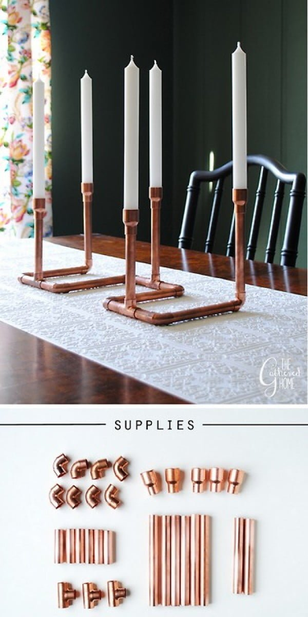 16 Trendy DIY Ideas to Decorate with Copper - Check out how to make this easy DIY copper candelabra