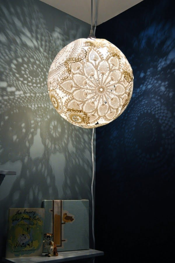 Check out this cool DIY doily lamp