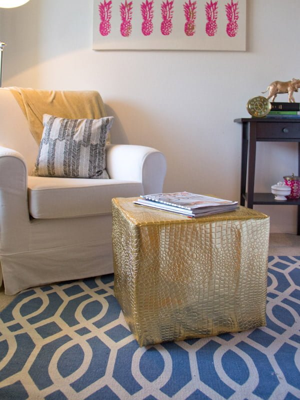 Faux Leather Pouf Ottoman that's easy to make and looks so good. Check it out! ideas
