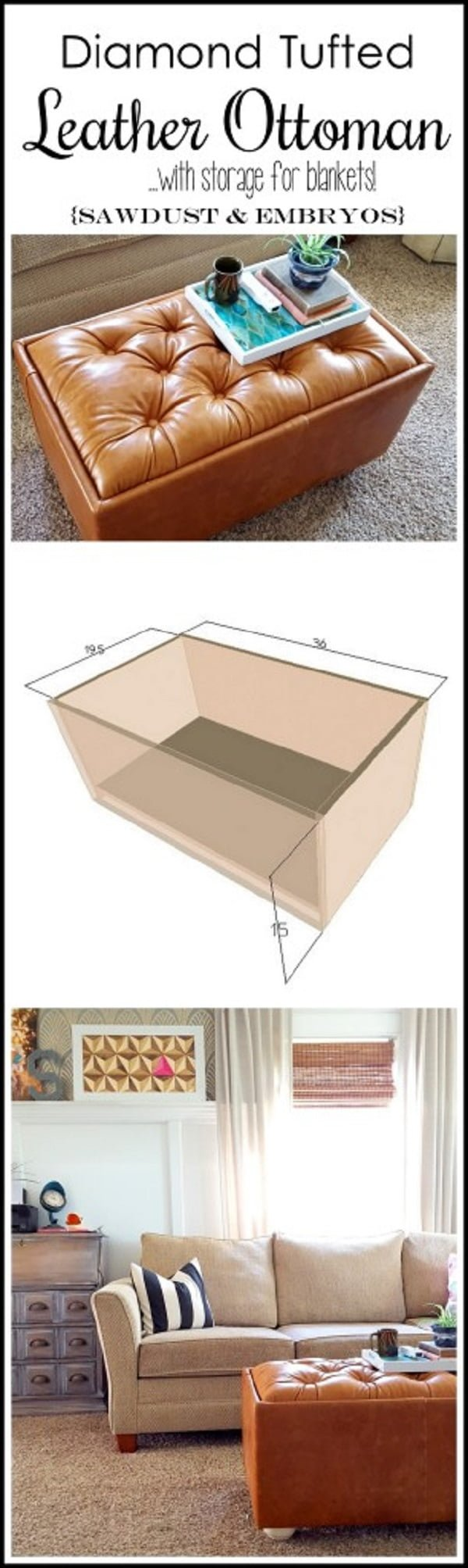 40 easy diy ottoman ideas you can make on a budget diy leather upholstered ottoman a nice project for your living room decor and its solutioingenieria Images