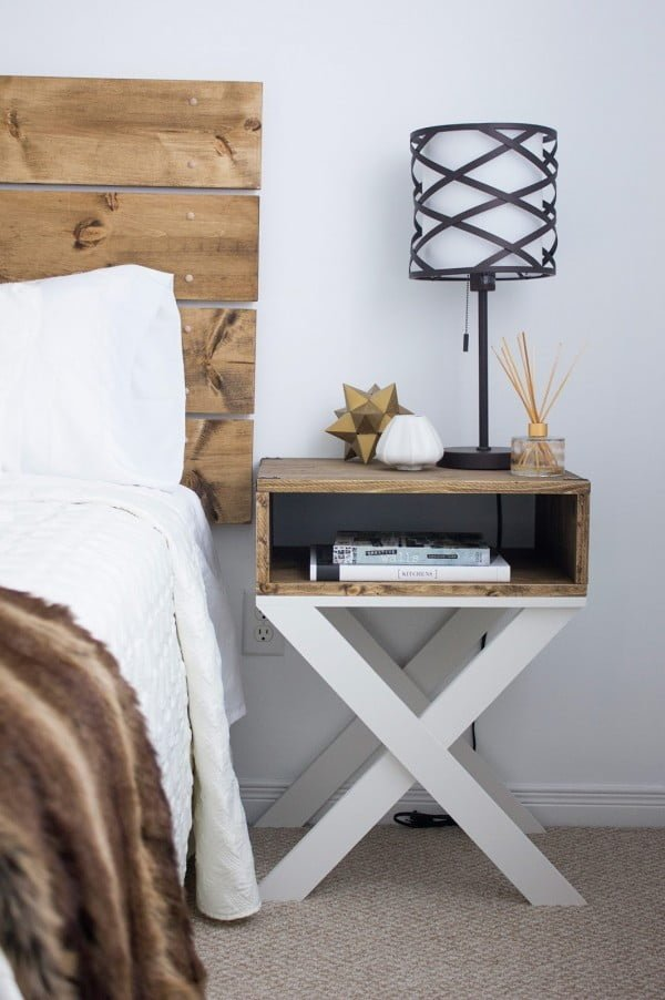 Love this rustic x-base nightstand