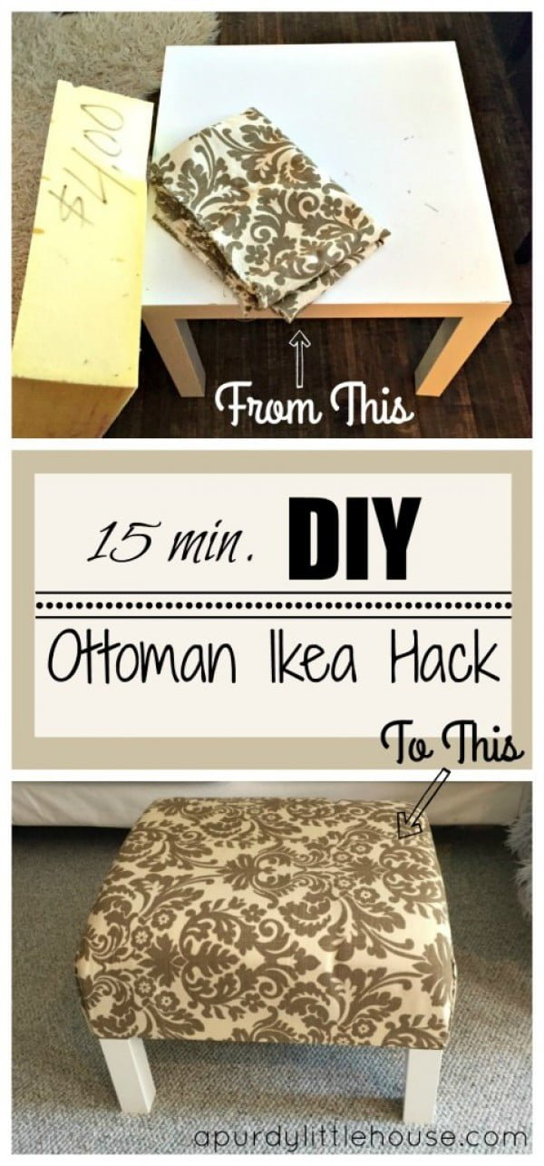 Easy to make DIY ottoman from an IKEA coffee table