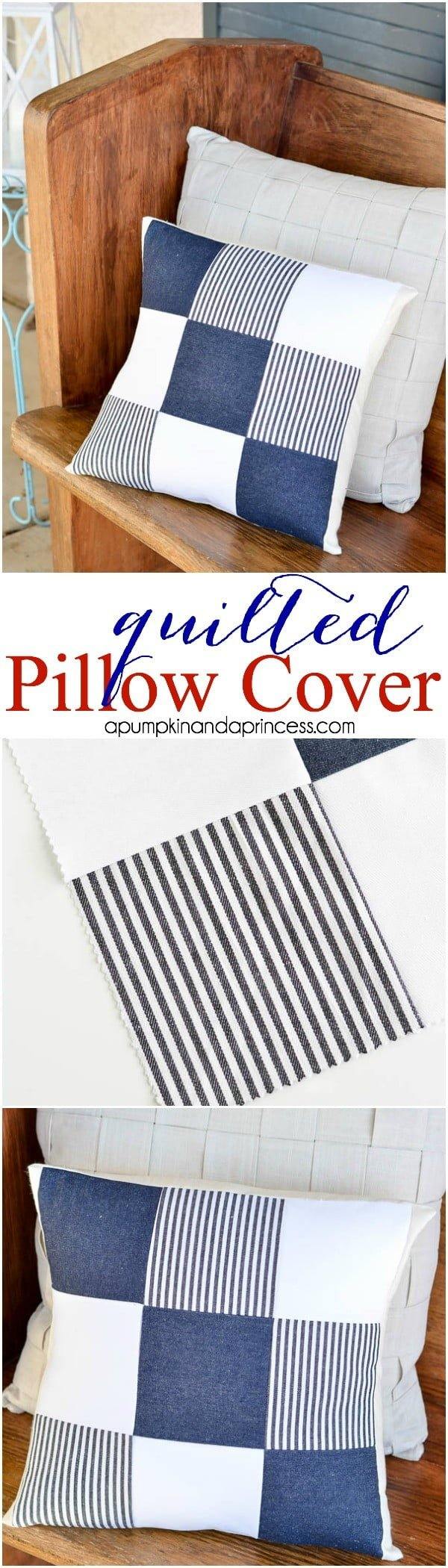 10 Insanely Easy DIY Pillow Cover Ideas - Make an easy DIY quilted pillow cover