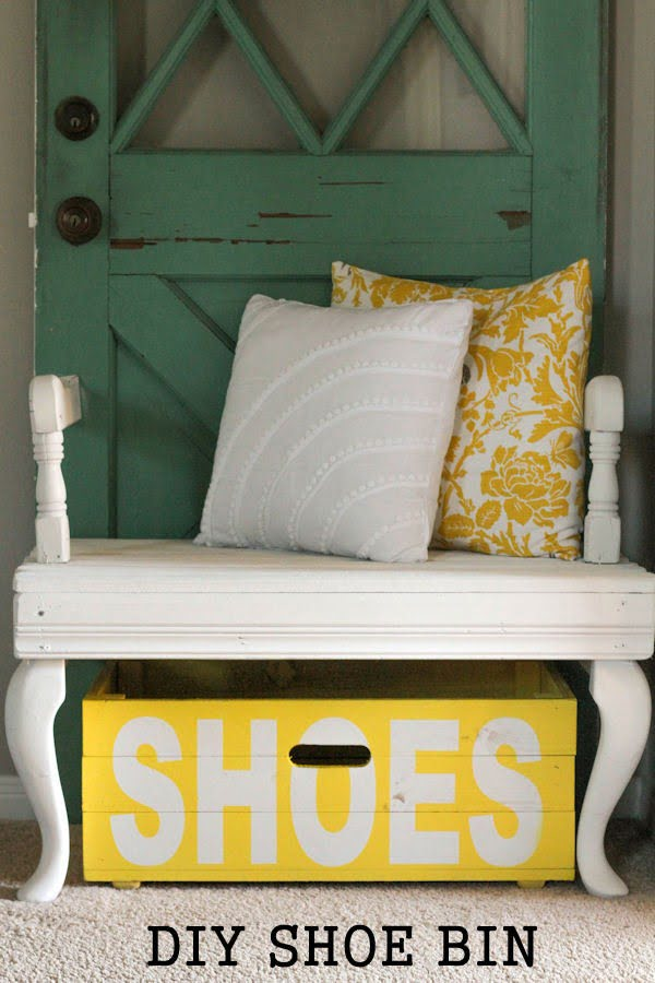 60+ Easy DIY Shoe Rack Ideas You Can Build on a Budget - Love the idea of a rustic DIY shoe bin