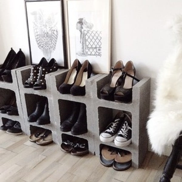 60+ Easy DIY Shoe Rack Ideas You Can Build on a Budget - Lovely idea for shoe storage using cinder blocks