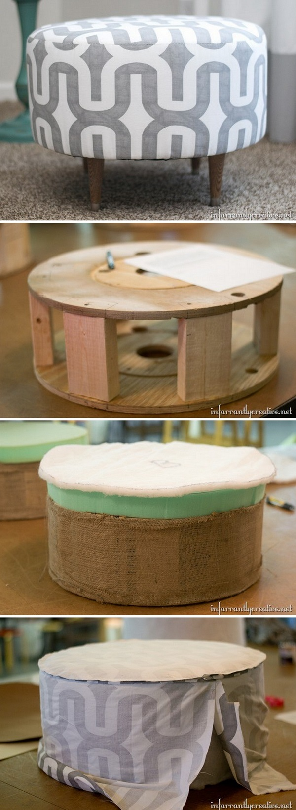 Check out this easy idea on how to make a #DIY electric spool ottoman #homedecor #budget #project