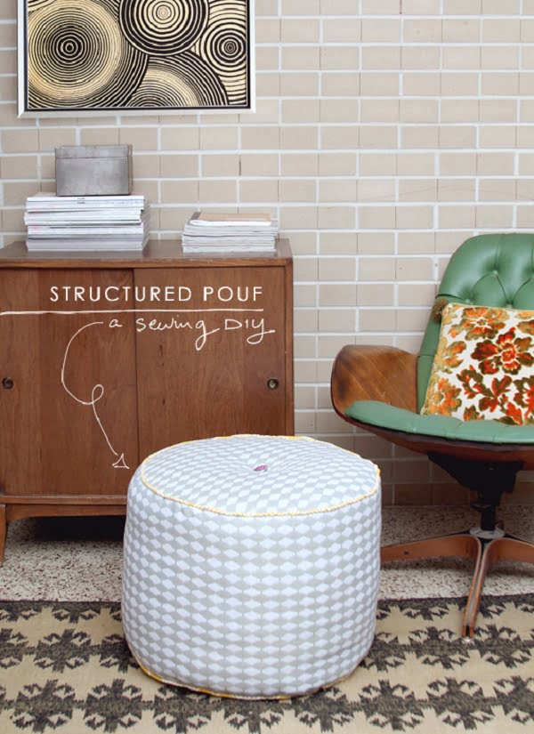 #DIY Structured Pouf Ottoman is a great way to easily add a cool accent to your home decor! #homedecorideas