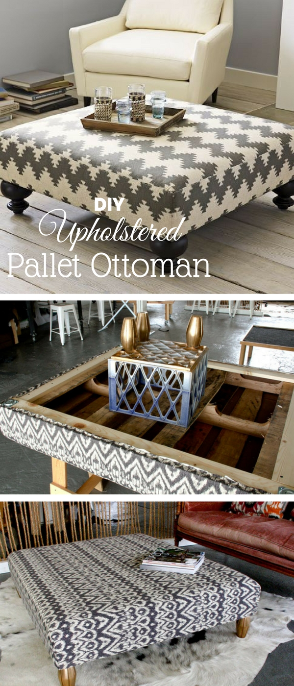 Check out how to make an easy DIY upholstered pallet ottoman