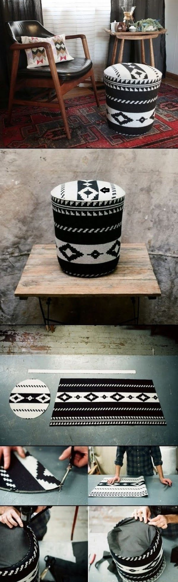 Make this easy DIY ottoman from a utility bucket