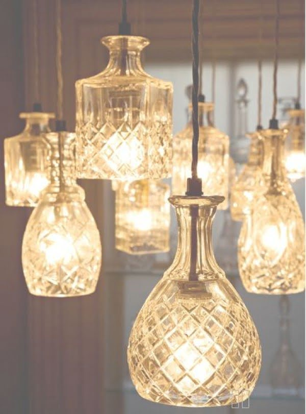 Check out these cool upcycle decanter pendant lights