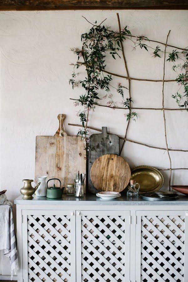 Love this simple rustic kitchen indoor vine trellis