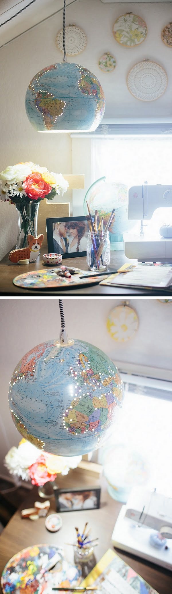 Check out the tutorial how to make this cute  globe chandelier