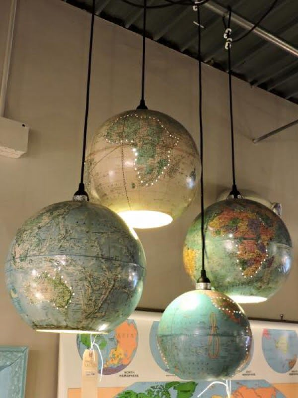 Check out these awesome upcycle world globe pendant lights