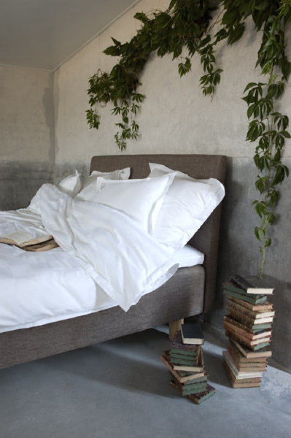 Love this bedroom decor with ivy plant