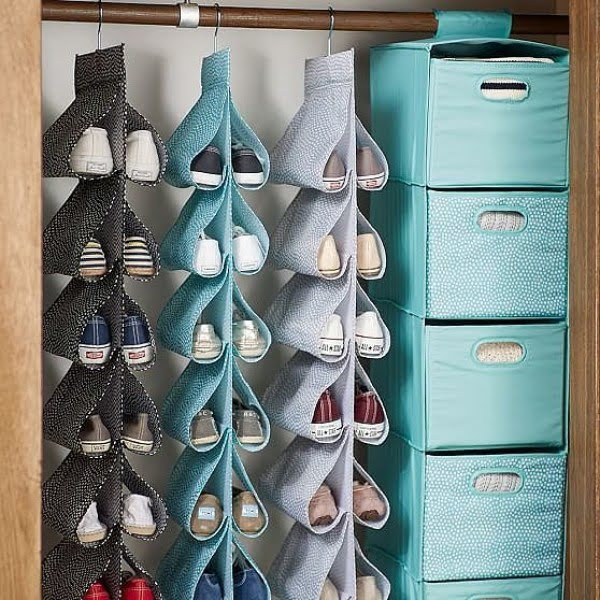 60+ Easy DIY Shoe Rack Ideas You Can Build on a Budget - Love these hanging closet shoe storage racks