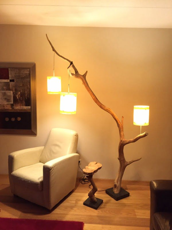 Check out this cool tree branch floor lamp