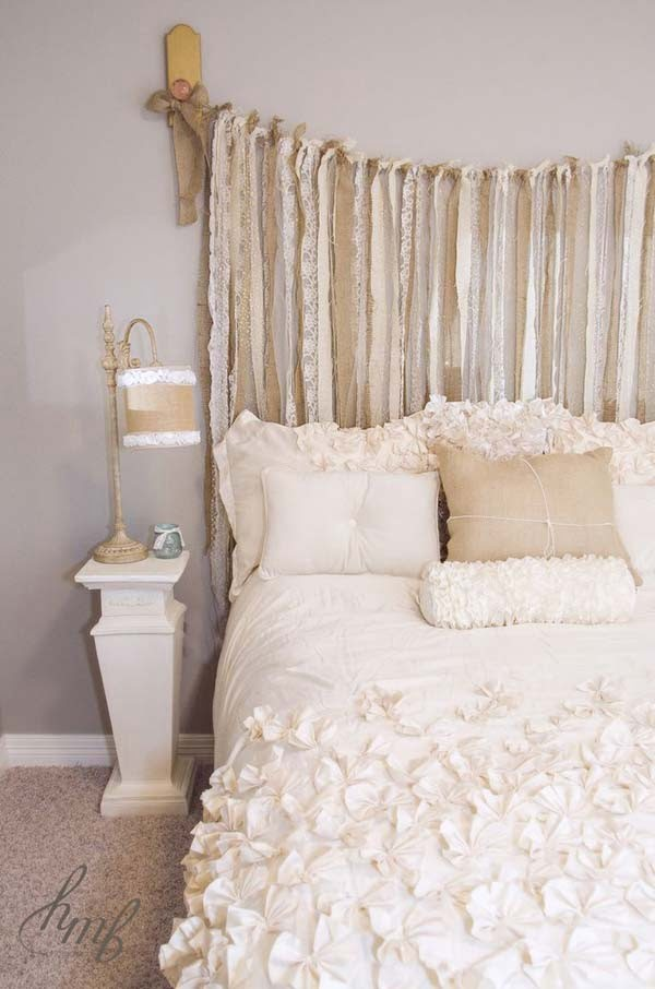 Great idea for a shabby chic headboard using scrap cloth