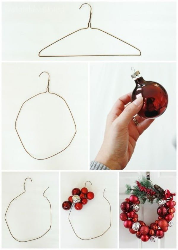 Here's how easy it is to make a DIY Christmas wreath from a wire hanger