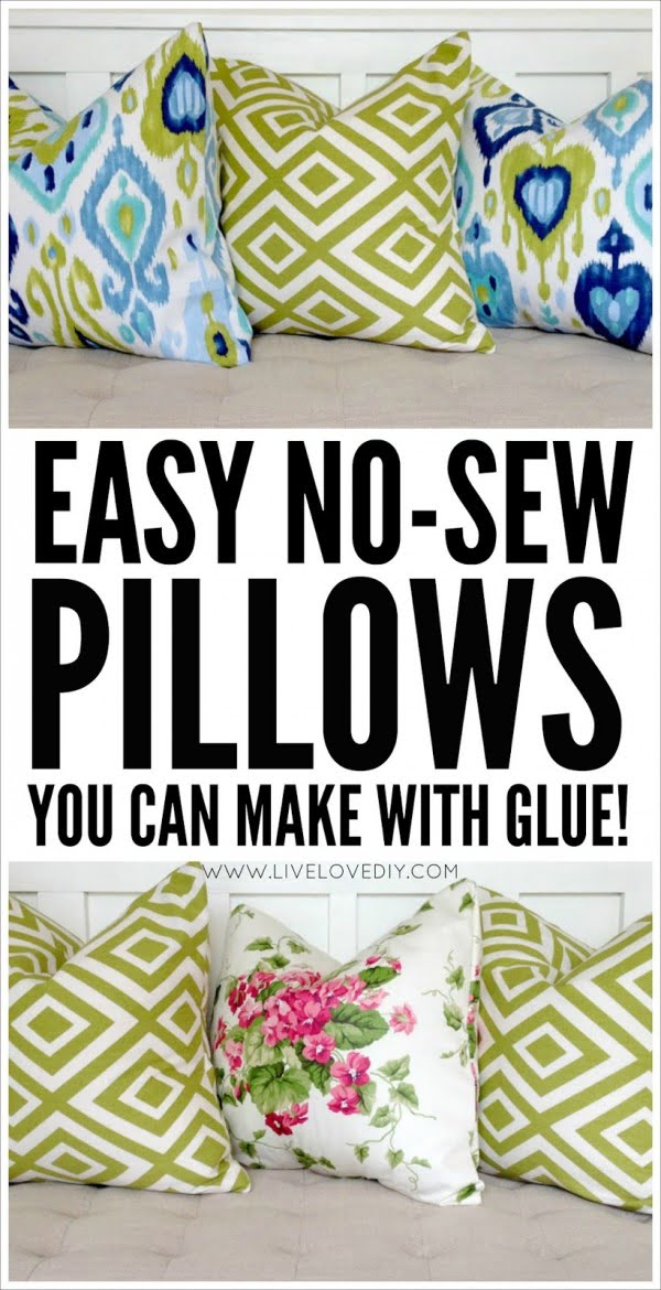 10 Insanely Easy DIY Pillow Cover Ideas - Check out how to make easy DIY no sew pillow covers