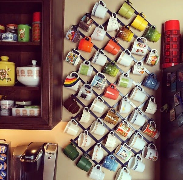 13 Brilliant DIY Mug Racks You'll Have Fun Making - Love the idea for a DIY display mug rack