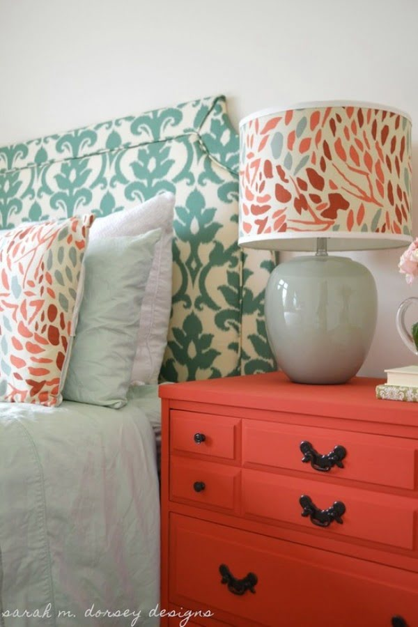 Love how the nightstand pops in a vibrant contrasting color
