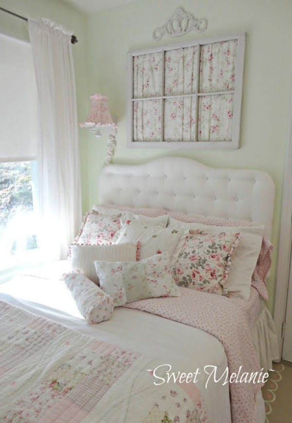 Great idea for shabby chic bedroom decor using an old window frame for wall art