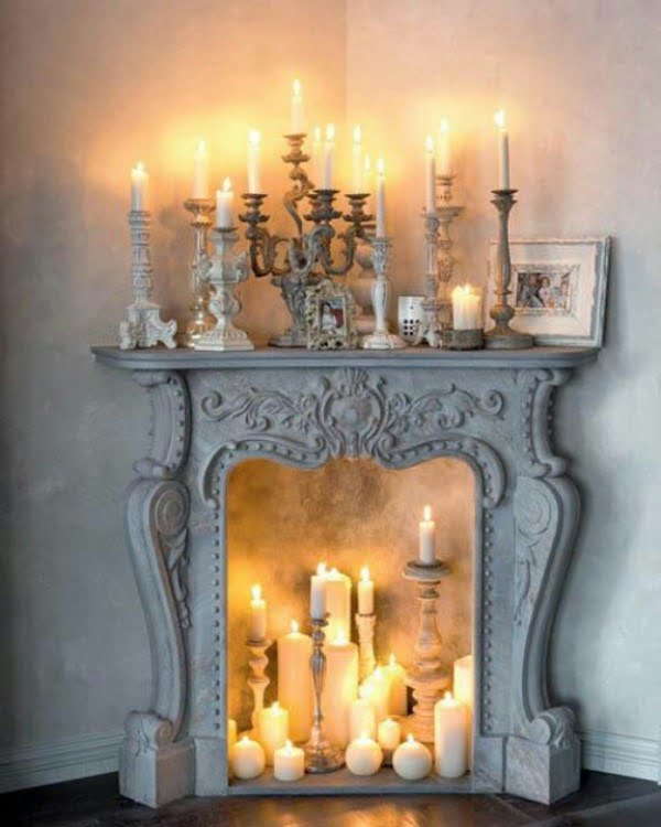 Love the idea for a faux fireplace for shabby chic bedroom decor