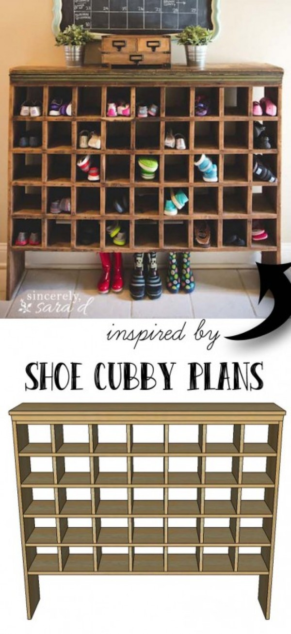 Check out how to build this cool shoe storage cubby