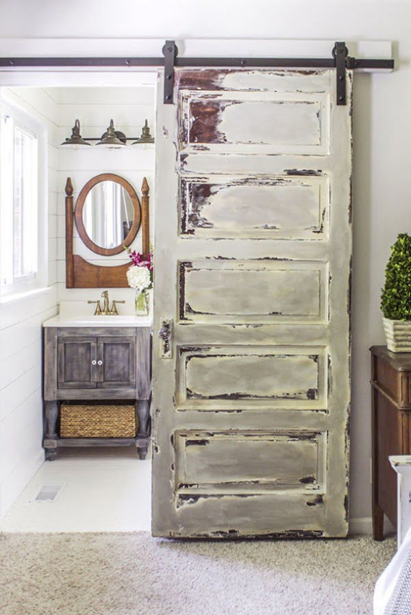 Great idea for a sliding barn door for shabby chic bedroom decor
