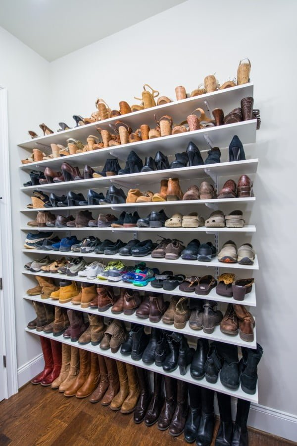 60+ Easy DIY Shoe Rack Ideas You Can Build on a Budget - Nice idea for shoe storage using suspended shelving
