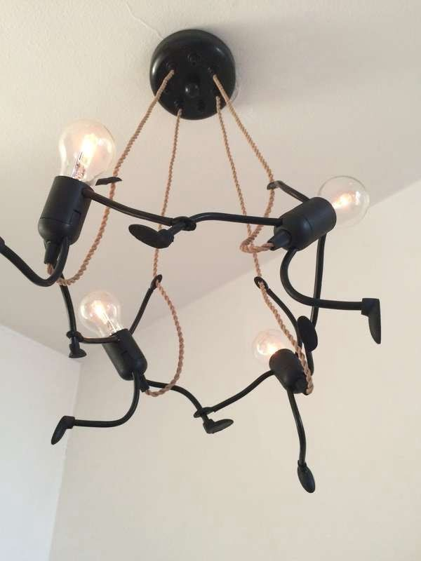 Check out this adorable light bulb figure chandelier