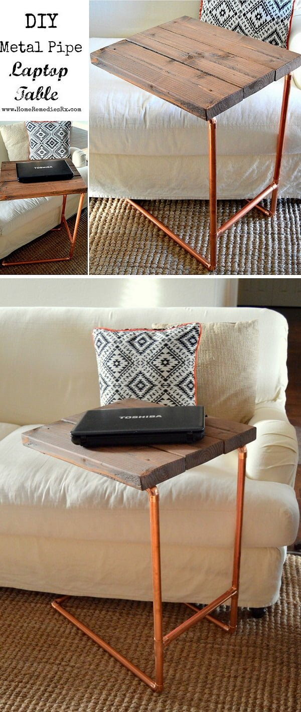 16 Trendy DIY Ideas to Decorate with Copper - Easy to make #DIY #copper pipe laptop table #homedecor #woodworking