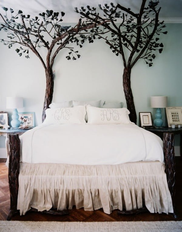 Love the decorative tree bed frame posts