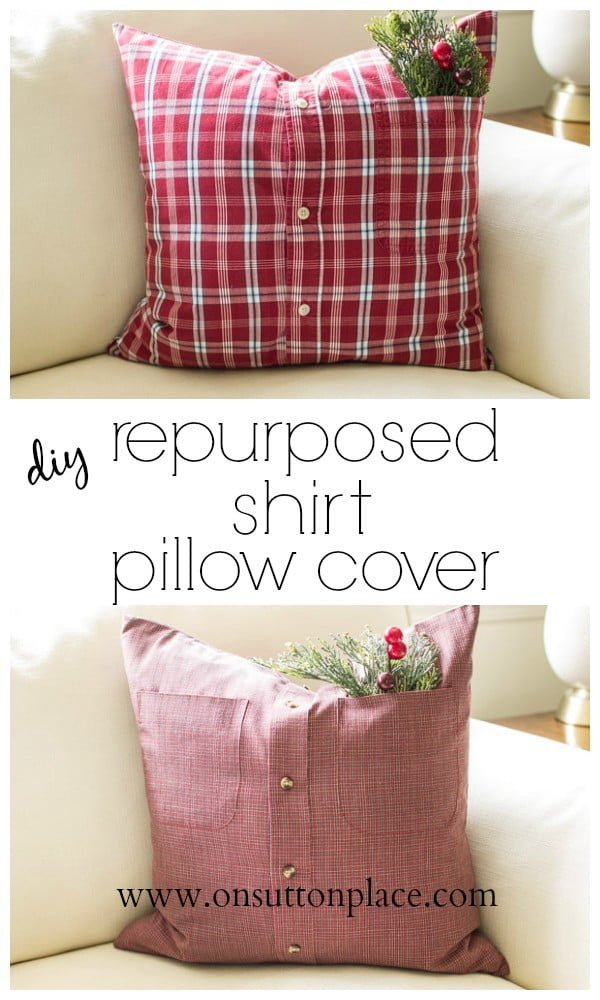10 Insanely Easy DIY Pillow Cover Ideas - Check out how to make an easy DIY repurposed shirt pillow cover