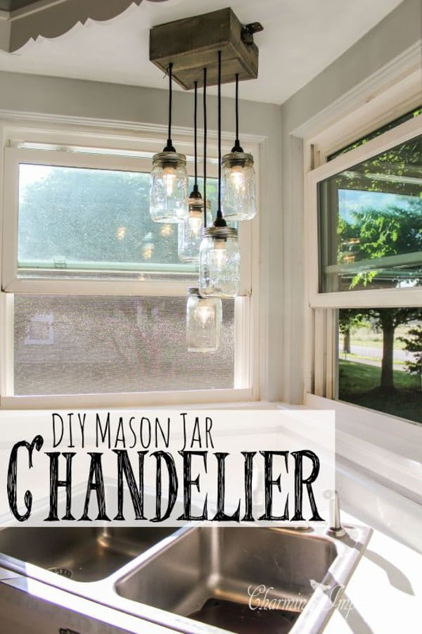 Check out how to make this cool DIY mason jar chandelier