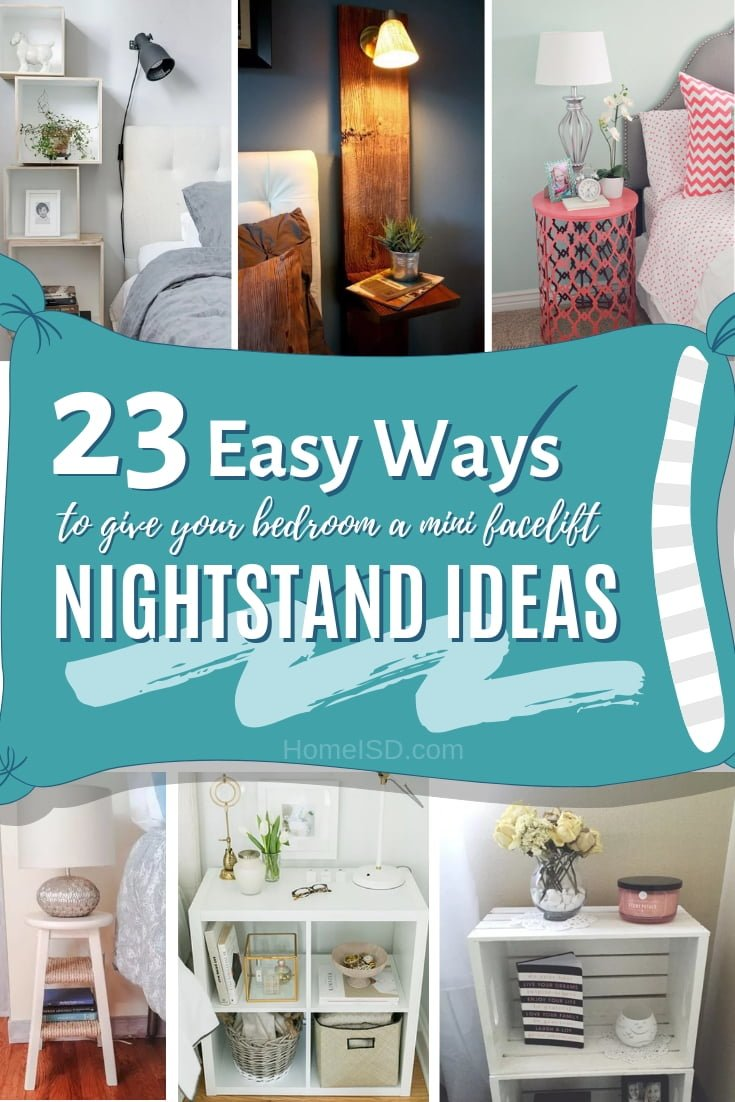The best and quickest way to give bedroom decor a mini facelift is to change the nightstand. Here are 16 brilliant ideas for inspiration. Great list! #homedecor #bedroomdecor