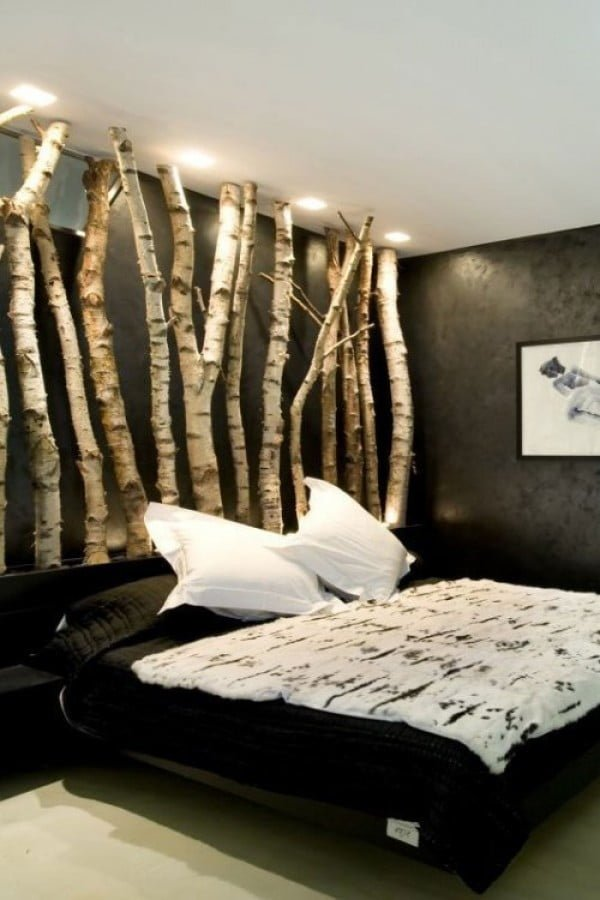Love the headboard made of real birch tree trunks