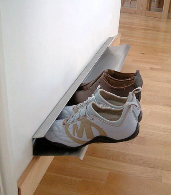 60+ Easy DIY Shoe Rack Ideas You Can Build on a Budget - Love the idea for a minimalist wall mounted shoe storage shelf