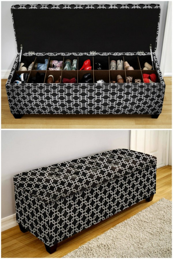 Love this bench with secret shoe storage