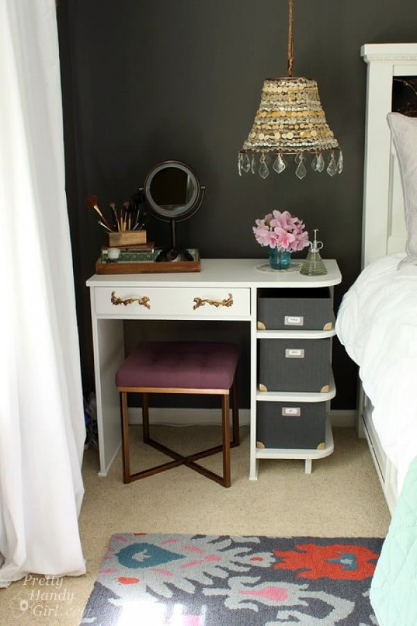 Love this vanity nightstand with so much chic charm