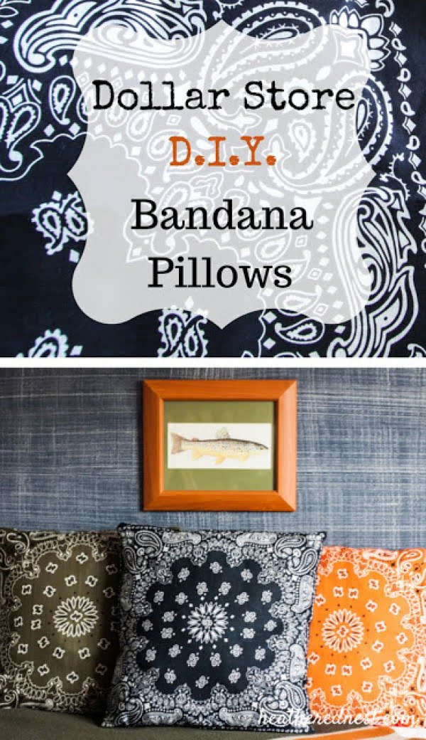10 Insanely Easy DIY Pillow Cover Ideas - Easy to make Dollar Store DIY bandana pillow covers