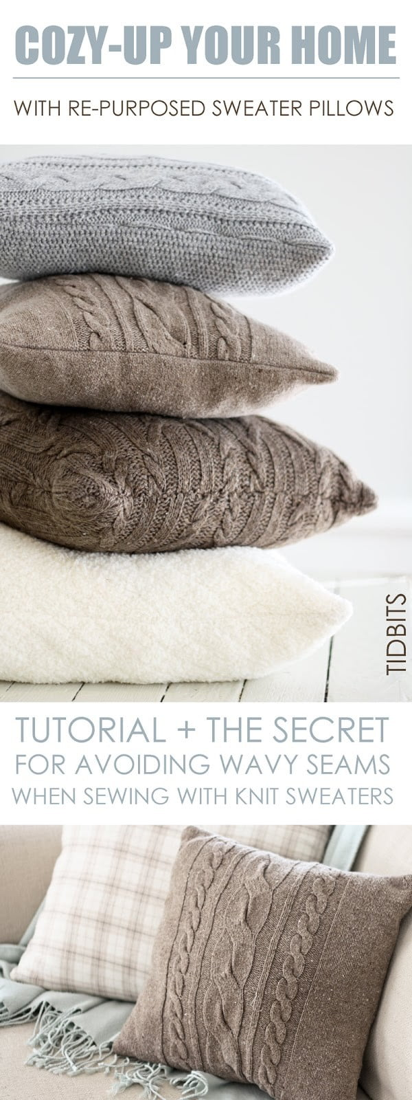 Check out how to make these easy DIY repurposed sweater pillow cases