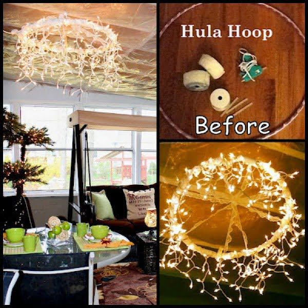 Check out how to make an easy DIY Hoola Hoop Chandelier
