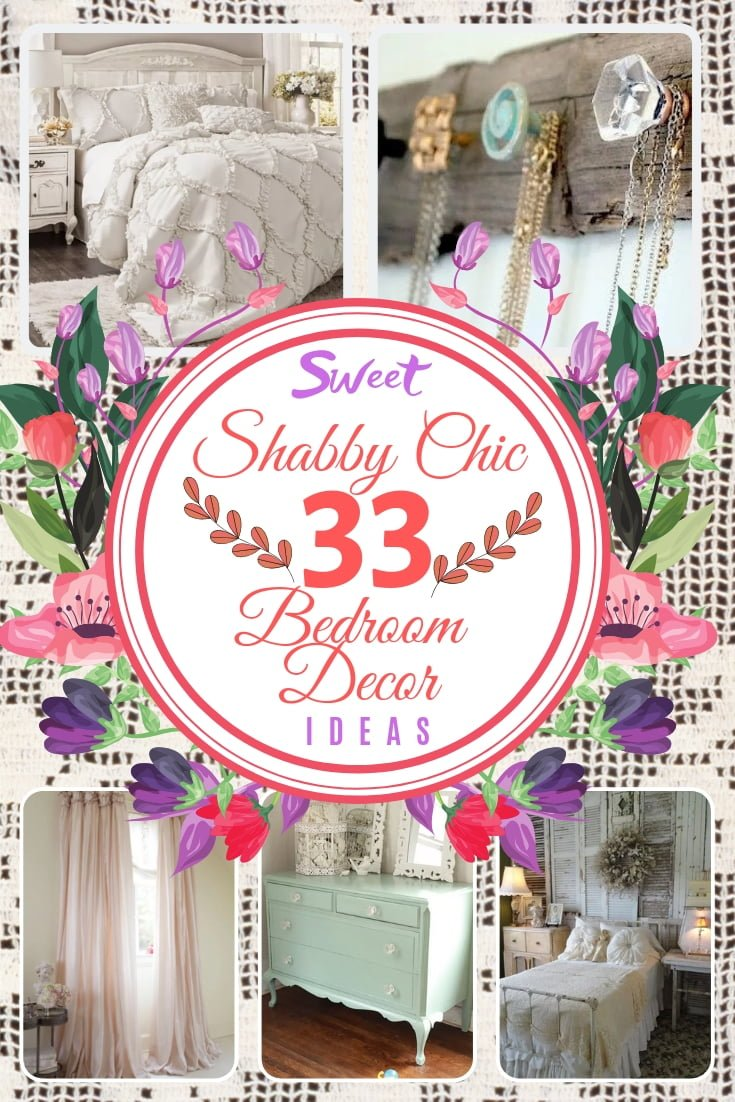 Does your bedroom need some sweet shabby chic charm? Here are 33 great ideas for your bedroom decor. Great list! #homedecor #bedroomdecor