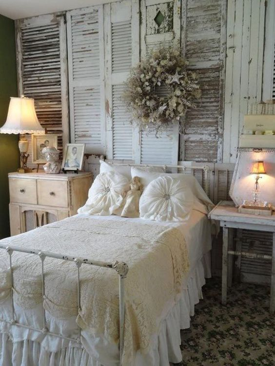 Love the idea for shabby chic bedroom decor with old shutters