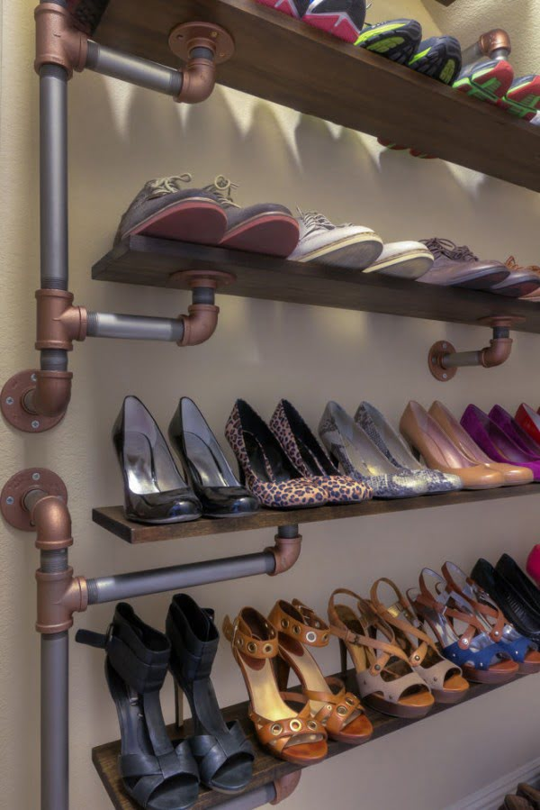60+ Easy DIY Shoe Rack Ideas You Can Build on a Budget - Check out how to build a DIY industrial style shoe storage rack from iron pipes
