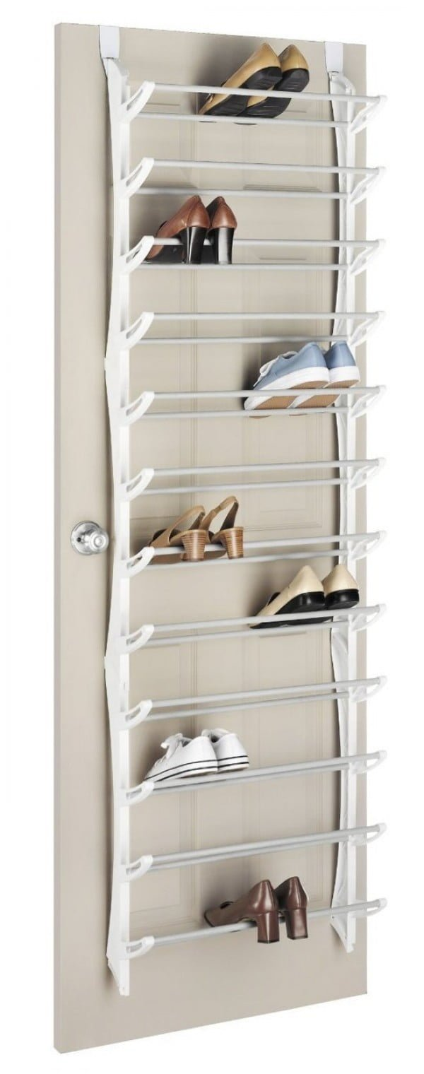 60+ Easy DIY Shoe Rack Ideas You Can Build on a Budget - Love this over the door shoe storage rack unit