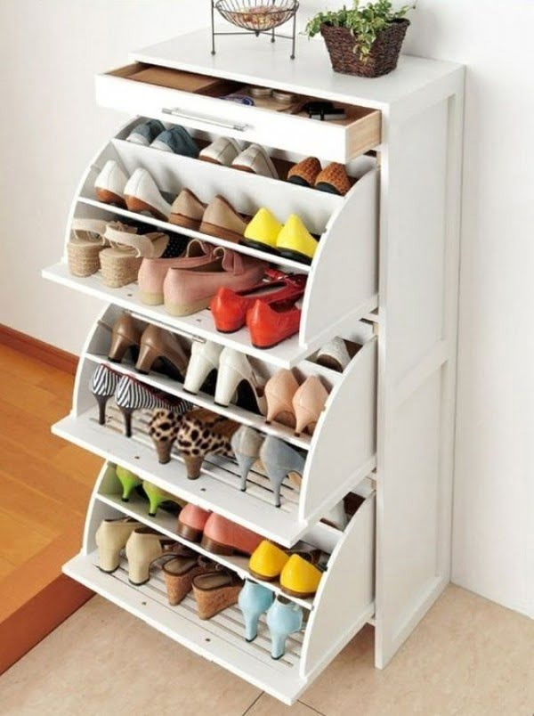 60+ Easy DIY Shoe Rack Ideas You Can Build on a Budget - Brilliant tilt out cabinet for clever shoe storage