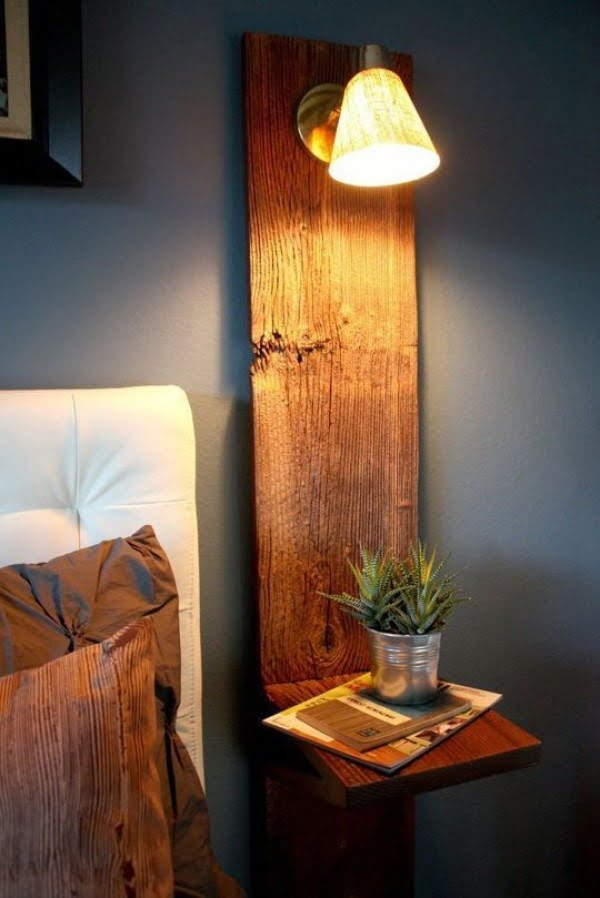 Love the rustic shelf nightstand with lighting