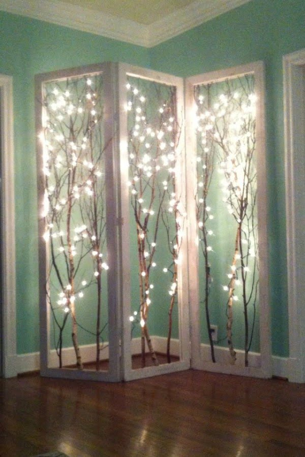 Check out this cool fairy light branch divider screen